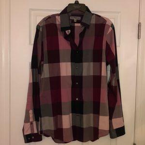 Express Men's Purple Plaid Button Down Shirt
